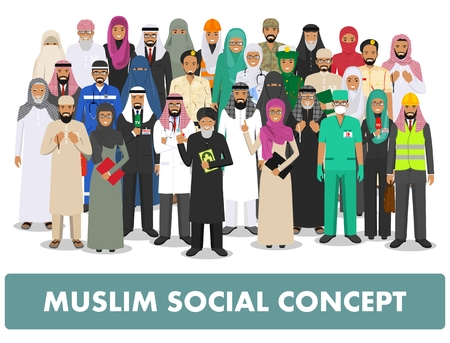 man: Social concept. Group muslim arabic people professions occupation standing together in different suit and traditional clothes on white background in flat style. Arab man and woman. Vector illustration