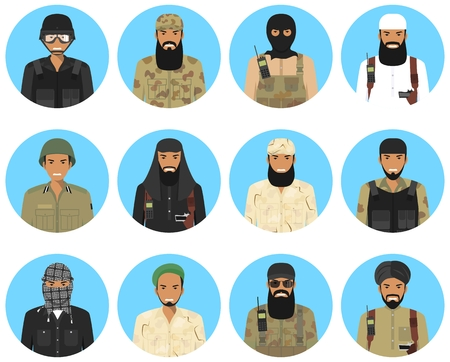 Set of colorful military Middle East people in flat style icons: muslim arabian officers and soldiers. Vector illustration.