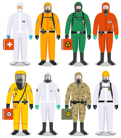 Set of colorful different people in differences protective suits in flat style. Dangerous profession. Vector illustration.