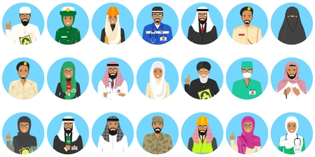 Set of colorful different Middle East people occupation characters in flat style icons. Vector illustration.
