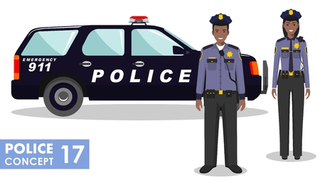 Couple of african american police people and police car isolated on white background. Set of USA policeman and policewoman standing together. Cute and simple in flat style. Illustration
