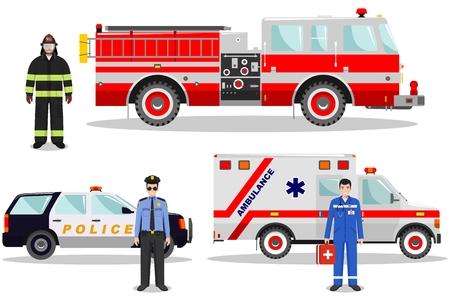 エマージェンシー コンセプト。消防士、医師、白地フラット スタイルで消防車と救急車、警察車と警官の詳細図。ベクトルの図。