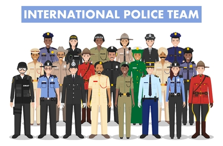 International police people concept. Detailed illustration of SWAT officer, policeman, policewoman and sheriff in flat style on white background. Vector illustration. Stock Illustratie
