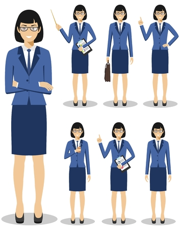 Business concept. Detailed illustration of american european businesswoman standing in different positions in flat style isolated on white background. Vector illustration.