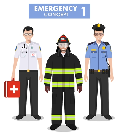 Detailed illustration of fireman, emergency doctor, police officer in flat style on white background. Vectores