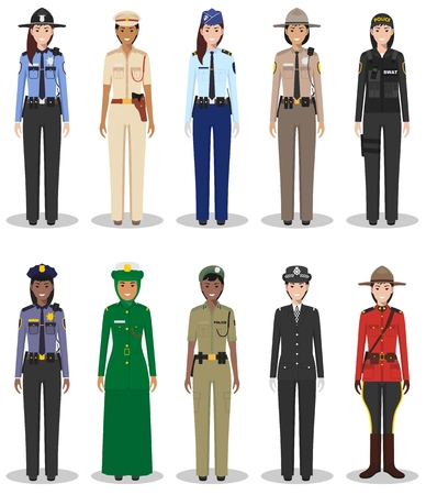 Detailed illustrations of police different countries in a flat style on a white background.