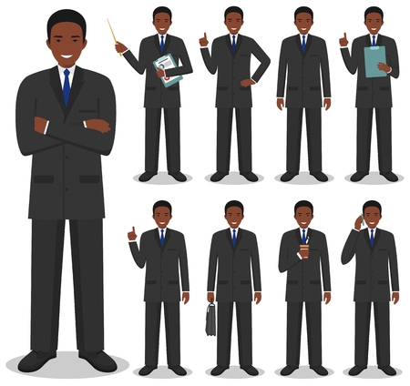 Business concept. Detailed illustration of african american businessman standing.