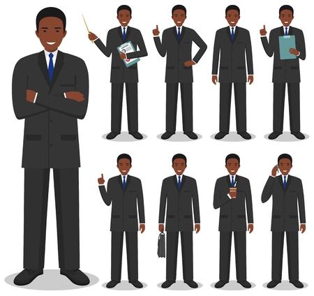 Concetto di affari. Illustrazione dettagliata dell'uomo d'affari africano americano in piedi.