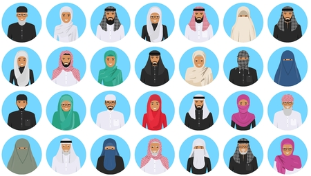 Different muslim arab people characters avatars icons set in flat style isolated on blue background.