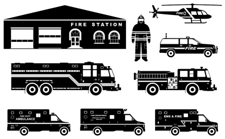 Fireman concept. Detailed illustration of firefighter, fire station building, firetruck and helicopter in flat style on white background. Vector illustration. Illustration