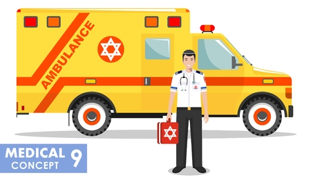 israel people: Medical concept. Detailed illustration of jewish emergency doctor man and ambulance car in flat style on white background. Vector illustration. Illustration