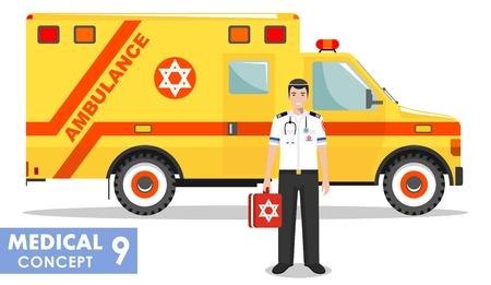 Medical concept. Detailed illustration of jewish emergency doctor man and ambulance car in flat style on white background. Vector illustration. Illustration