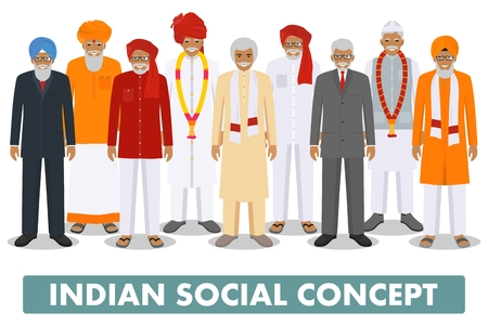 multy: Social concept. Group indian senior people standing together in different traditional national clothes on white background in flat style. Vector illustration.