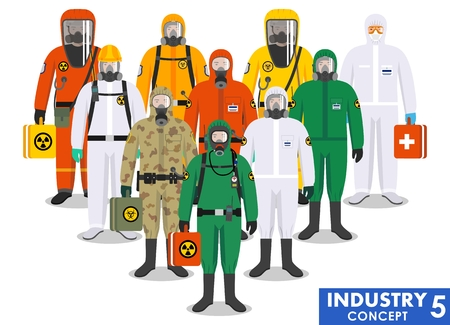 Chemical industry concept. Group different workers standing together in differences protective suits on white background in flat style. Dangerous profession. Vector illustration. Illustration