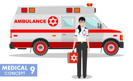 Medical concept. Detailed illustration of Jewish emergency doctor woman and ambulance car in flat style on white background. Illustration