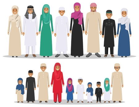 Family and social concept. Group muslim arabian children standing together in row in different traditional islamic clothes on white background in flat style.