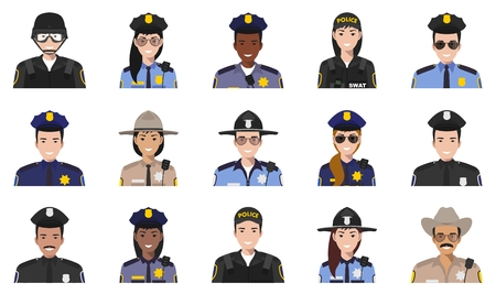 Police people concept. Different policeman and policewoman characters avatars icons set in flat style isolated on white background. Vector illustration. Vettoriali