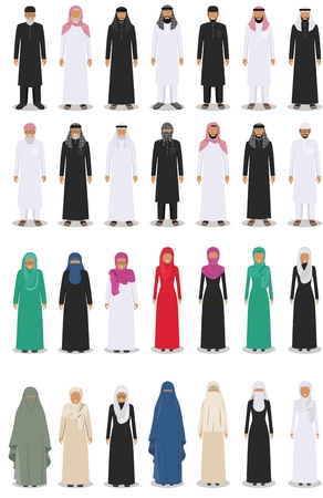 Set of different standing arab adult and old people in the traditional muslim arabic clothing isolated on white background in flat style. Vector illustration.