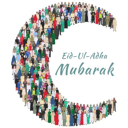 Moslim vakantie Eid al-Adha. Feest van het Offer. Grote groep Arabische mensen beroepen beroep staan samen in de vorm van halve maan in verschillende kostuum en traditionele kleding in platte stijl. Stock Illustratie