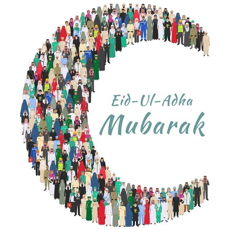 Muslim holiday Eid al-Adha. Feast of the Sacrifice. Large group arabic people professions occupation standing together in the shape of crescent in different suit and traditional clothes in flat style.