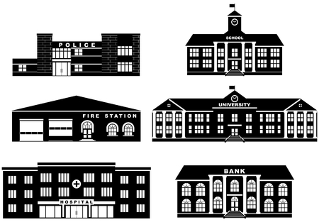 fireman: Set of silhouettes different buildings isolated on white background in flat style. Fire station, police department, school, university, bank and hospital. Vector illustration.