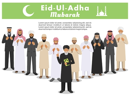 Muslim holiday Eid al-Adha. Feast of the Sacrifice. Different standing praying arabic people and mullah in traditional arabian clothes. Mufti with quran. Islamic men with beads in hands pray. Vector. Stock Photo