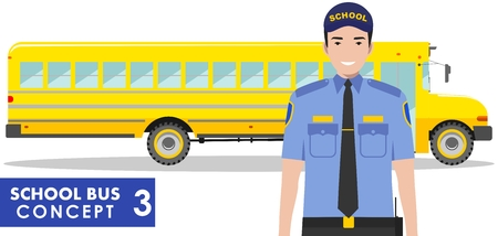 yellow schoolbus: Detailed illustration of driver and yellow school bus in flat style on white background. Education concept. Vector illustration.