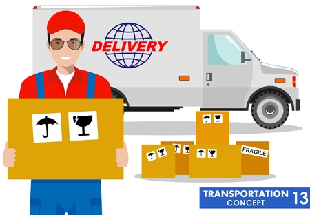 Transportation concept. Detailed illustration of delivery truck and driver, deliveryman hold the box on white background in flat style. Vector illustration. Illustration