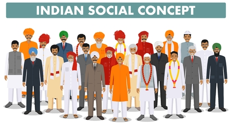 Family and social concept. Group young and senior indian people standing together in different traditional clothes on white background in flat style. Vector illustration. 矢量图像