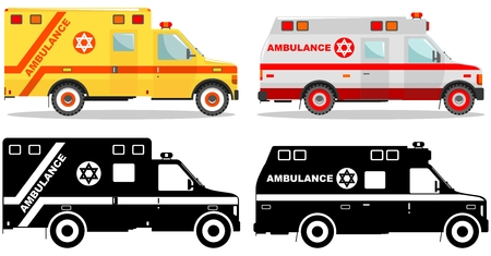 Medical concept. Different kind jewish car ambulances isolated on white background in flat style: colored and black silhouette. Vector illustration.