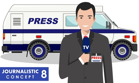 journalistic: Journalistic concept. Detailed illustration of reporter and TV or news car in flat style on white background. Vector illustration. Illustration