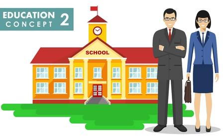 Education concept. Detailed illustration of a school building, male and female teacher in flat style on white background. Vector illustration. Illustration