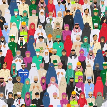 다른 드레스 스타일에 사회 이슬람 개념입니다. 작고 귀여운 플랫 스타일. 사회 구성원의 그림입니다. 다른 직업 벡터 원활한 패턴 디자인 사람들이 문