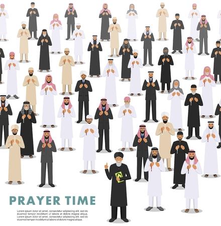 벡터 원활한 패턴 구슬 손에 서서기도 이슬람 사람들의 그룹. quran와 함께 Mufti. 이슬람 개념입니다. 벡터 일러스트 레이 션.