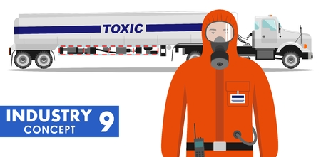 Detailed illustration of cistern truck carrying chemical, radioactive, toxic, hazardous substances and worker in protective suit on white background in flat style. Illustration