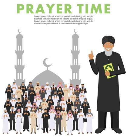 이슬람 사람들 손에 구슬 함께 서기도. quran와 함께 Mufti. 모스크와 대성당의 실루엣입니다. 벡터 일러스트 레이 션. 일러스트