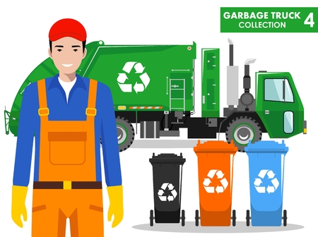 Detailed illustration of garbage man, garbage truck and different types of dumpsters on white background in flat style.