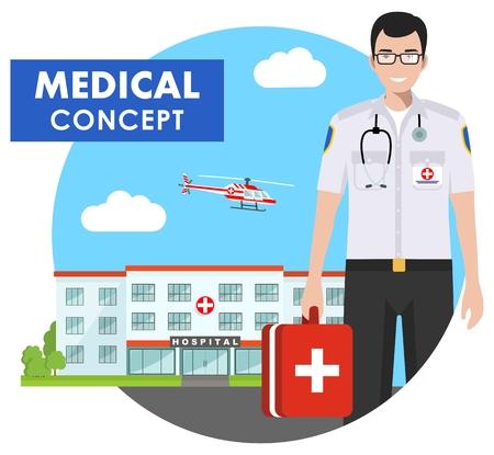 Medical respondent icon. Illustration