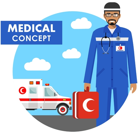 Medical concept. Detailed illustration of muslim medical people in uniform on background with medical ambulance car in flat style. Vector illustration.
