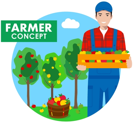 guy standing: Detailed illustration of farmer gardener man in overalls on background with apple trees in flat style. Vector illustration.