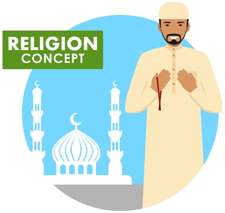Islamic man with beads in hands pray. Muslim person standing on the background silhouette of mosque and minarets. Vector illustration.