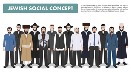 플랫 스타일에서 흰색 배경에 다른 전통적인 옷에 함께 서 유태인 남자. 그룹 성인 이스라엘 사람들. 다른 드레스 스타일. 플랫 디자인 사람들이 문자.