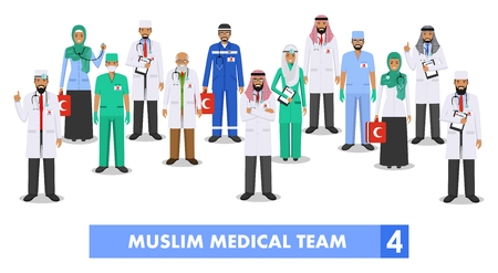 Detailed illustration of muslim arabic medical staff people in flat style on white background. Illustration