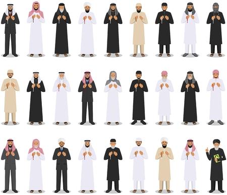 다른 손에 구슬 서서기도하는 이슬람 사람들의 집합입니다. quran와 함께 Mufti. 이슬람 개념입니다. 벡터 일러스트 레이 션. 일러스트