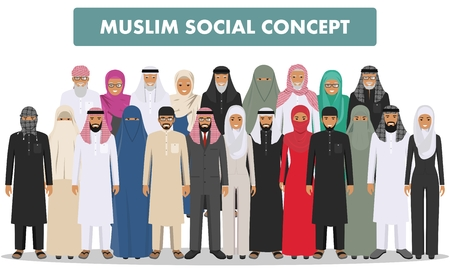 guy standing: Arab men and women standing together in different traditional islamic clothes on white background in flat style. Different dress styles. Flat design people characters. Social concept. Family concept. Illustration