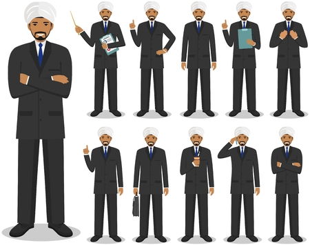 guy standing: Business concept. Detailed illustration of muslim or indian businessman standing in different positions in flat style isolated on white background.