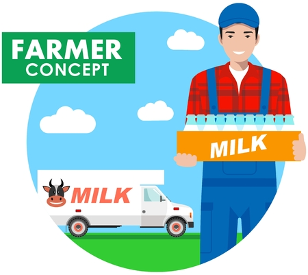 car isolated: Detailed illustration of driver, farmer in overalls on background with milk truck in flat style. Vector illustration. Illustration