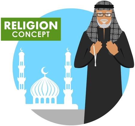 손에 구슬 가진 이슬람 수석 남자기도하십시오. 모스크와 대성당의 배경 실루엣에 서있는 이슬람 오래 된 사람.