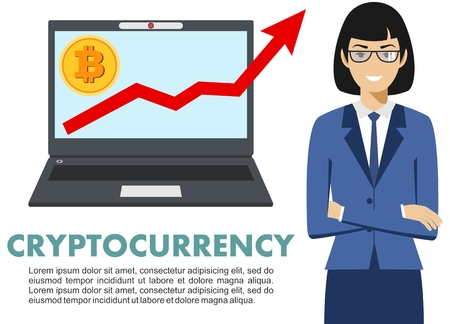 electronic background: Businesswoman with computer. Bitcoin sign, digital currency, cryptocurrency, electronic money. Cryptocurrency concept. Bitcoin mining, exchange, mobile banking. Up graph with bitcoin sign, cryptocurrency in flat icon design in laptop.