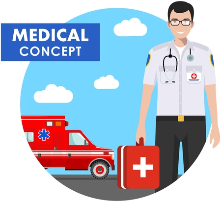 Medical concept. Detailed illustration of emergency doctor man in uniform on background with ambulance car in flat style. Vector illustration. Illustration